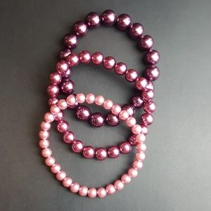 Pink Glass Pearl Bracelet Set